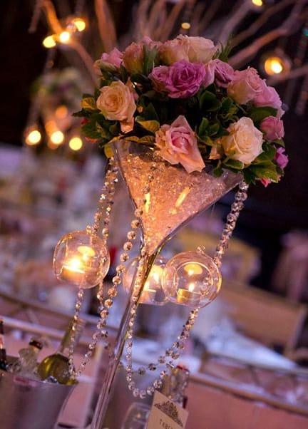 Martini vase with fresh flowers wedding centrepiece