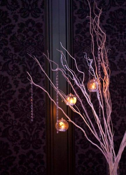 Willow stick wedding centrepiece