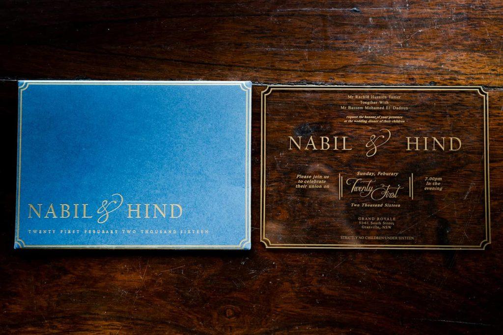 gold acrylic wedding invitation
