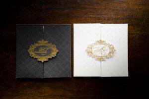 gold logo wedding invitation