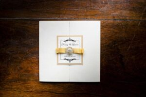 beautiful wedding invitation with ribbon