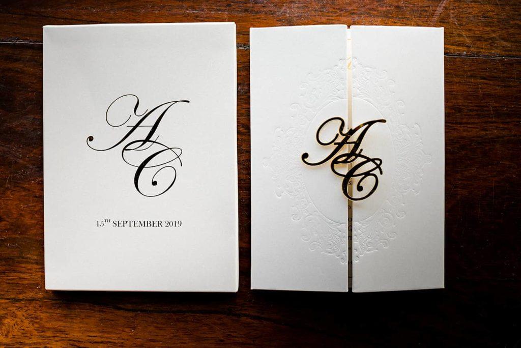 laser cut wedding logo invite