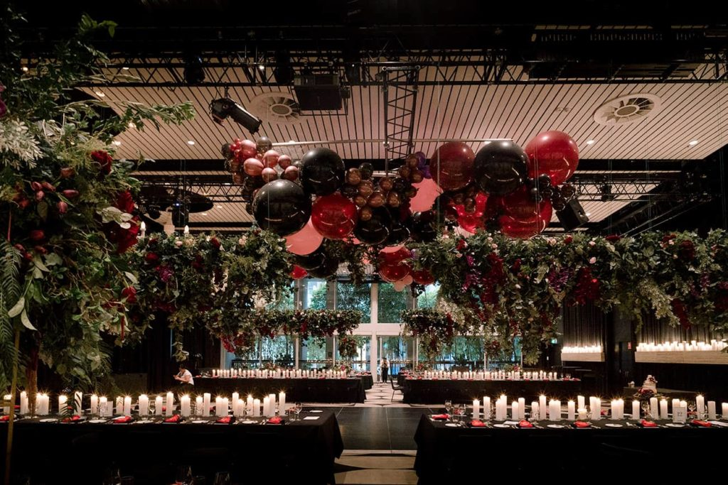 wedding ceiling installation flowers