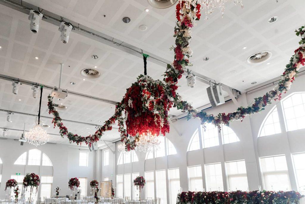 floral chandelier installation