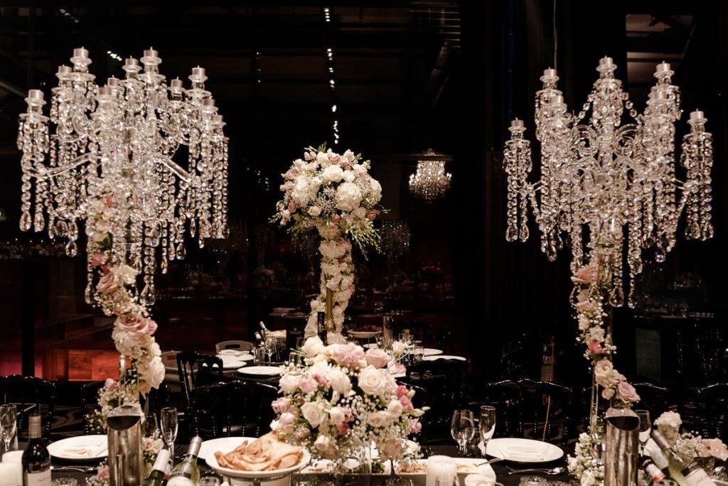 Fresh flower centrepiece wedding stylist