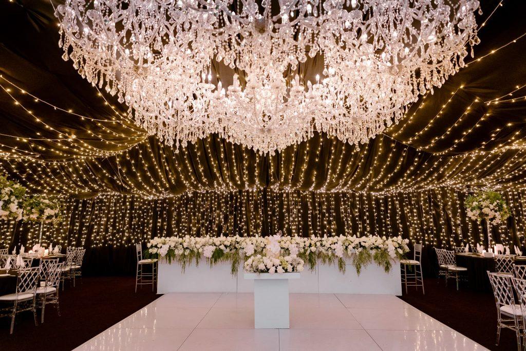 White dance floor wedding