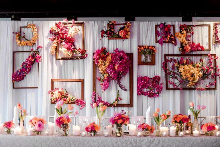 Framed flower backdrop