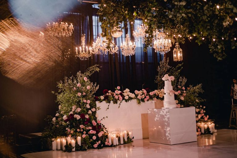Flowers and chandelier hire