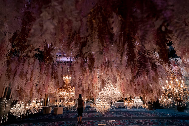 flower ceiling installation hyatt regency